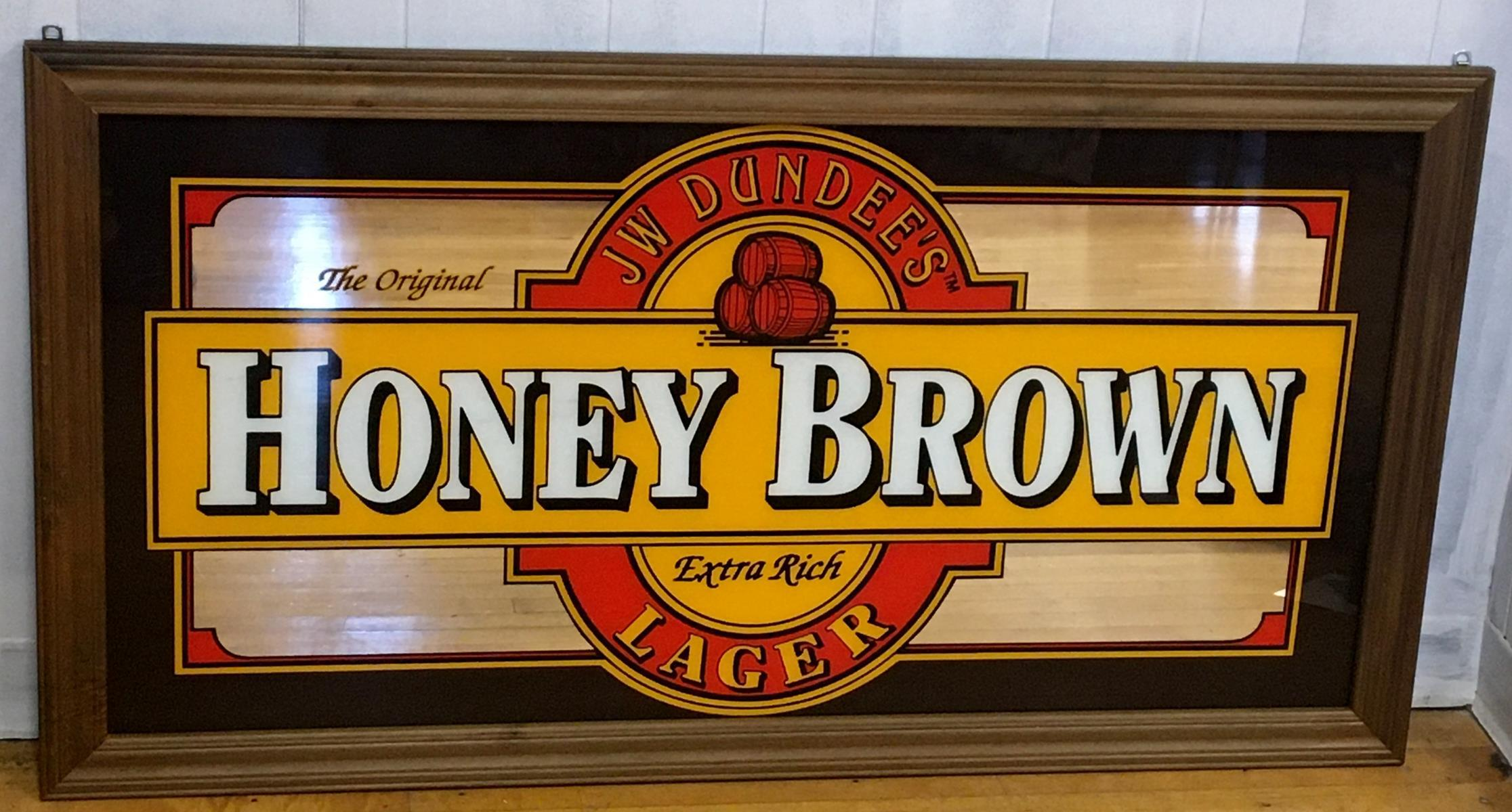 """JW Dundee's Original Honey Brown Lager Mirror Sign Large 52"""" x 28.5"""" NEW OLD STOCK"""