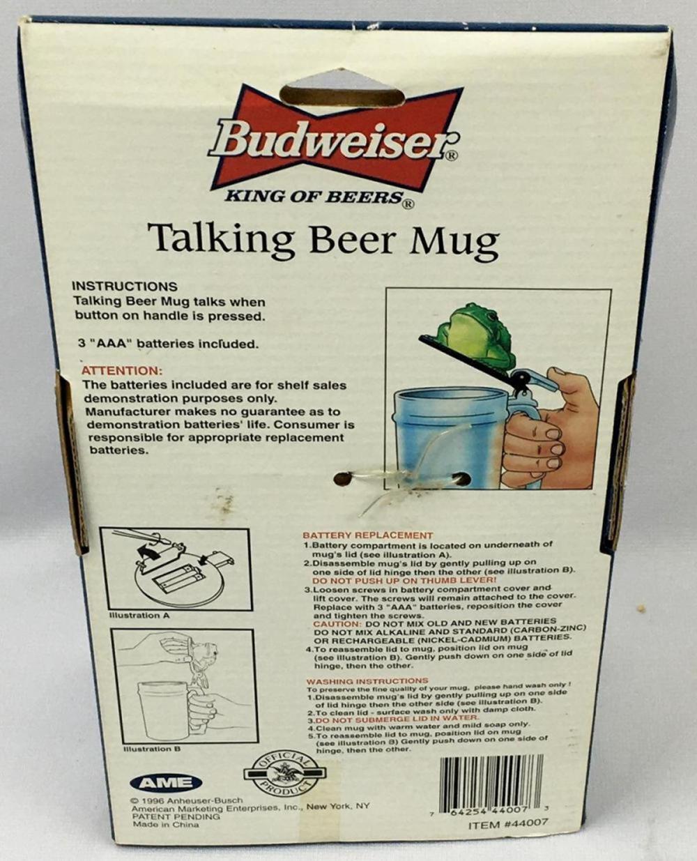 1996 Budweiser Talking Frog Beer Mug NOS