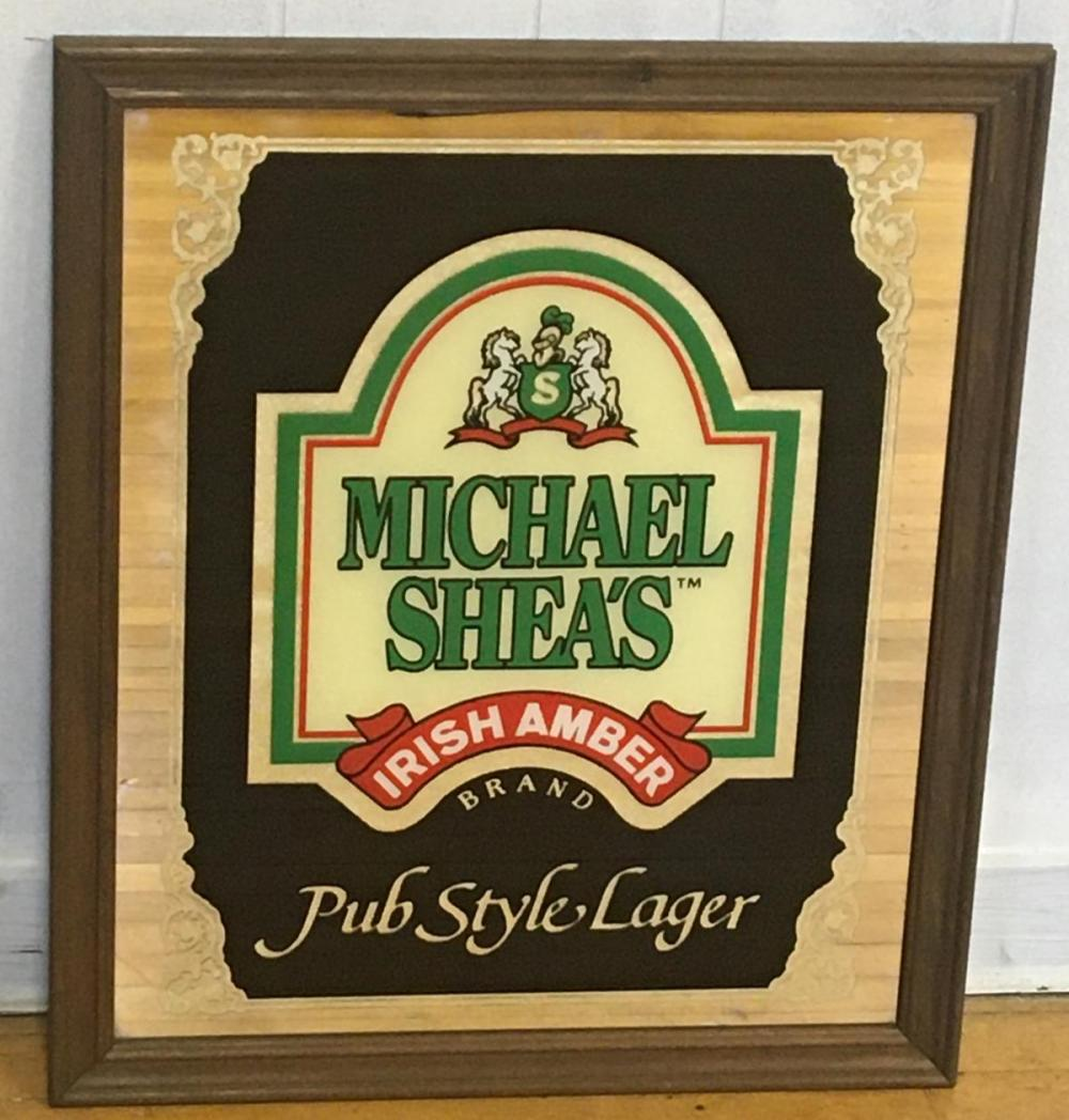 Michael Shea's Irish Amber Pub Style Lager Mirror Sign NEW OLD STOCK