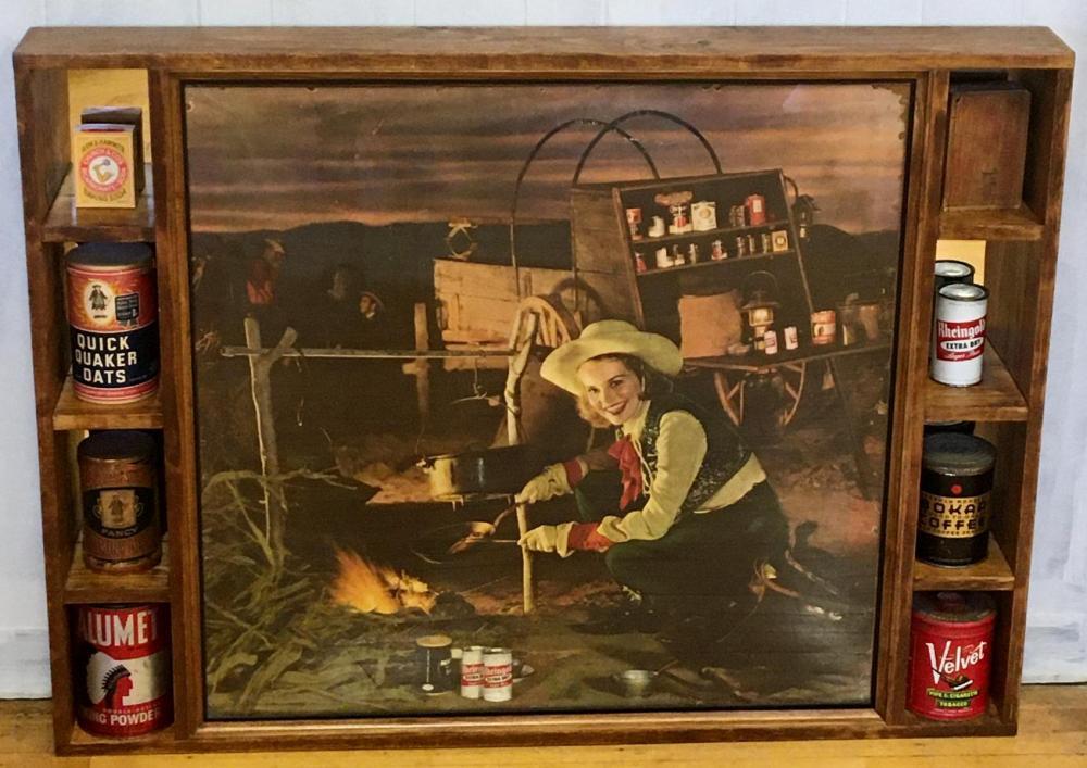 """Vintage Large 1948 Rheingold Beer Shadowbox w/ """"Miss Rheingold' Pat Quinlan Cardboard & Items"""