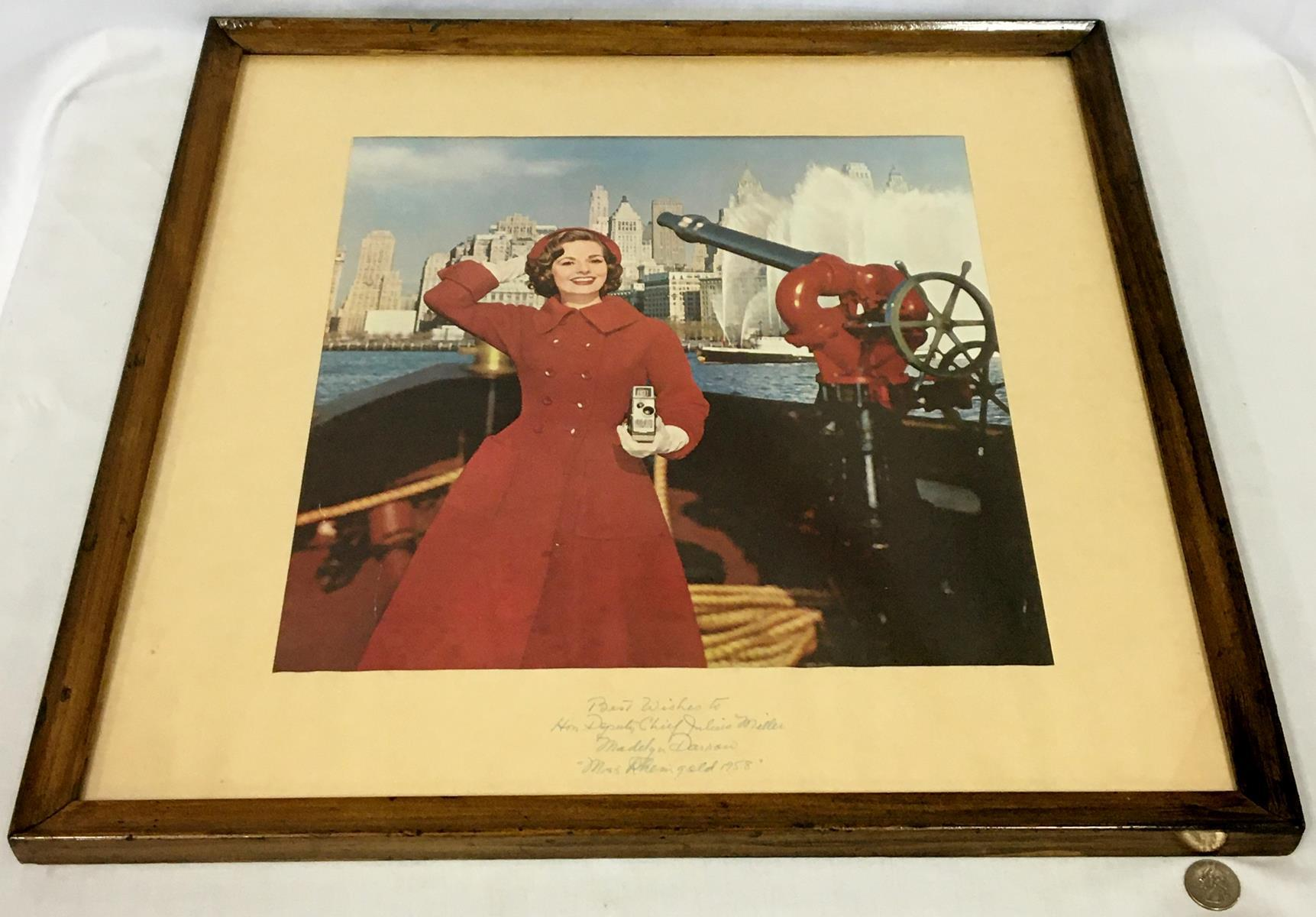 RARE Vintage 1958 Miss Rheingold Beer Madelyn Darrow Autographed Fire Boat Picture FRAMED