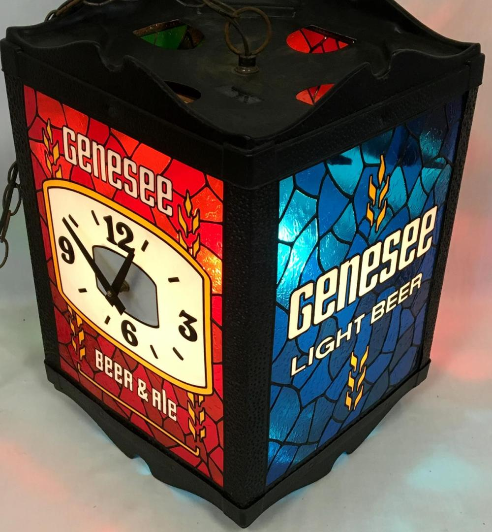 RARE Vintage 1970's Genesee Rotating 4 Sided Lighted Multiple Color Stained Glass Like Hanging Clock Sign WORKS