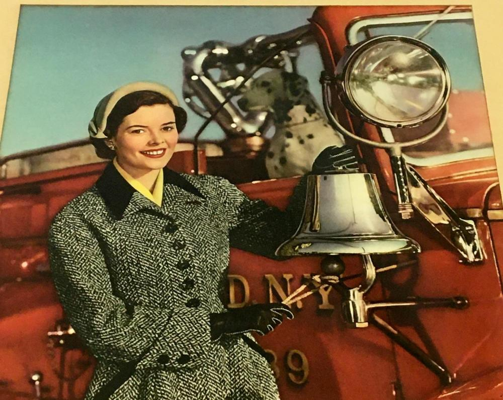 RARE Vintage 1952 Miss Rheingold Beer Anne Hogan Autographed Fire Truck Picture FRAMED