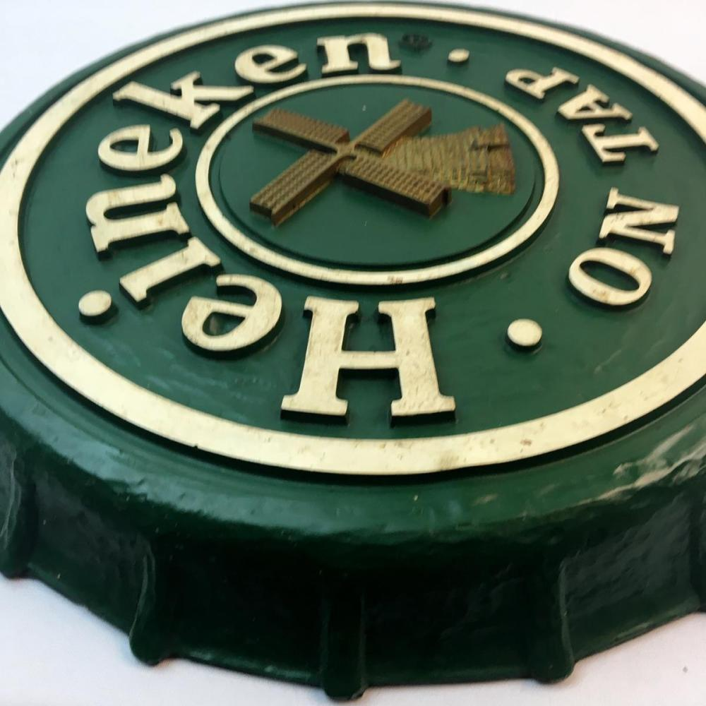 Vintage 1980's Heineken On Tap Beer Bottle Cap Sign 19