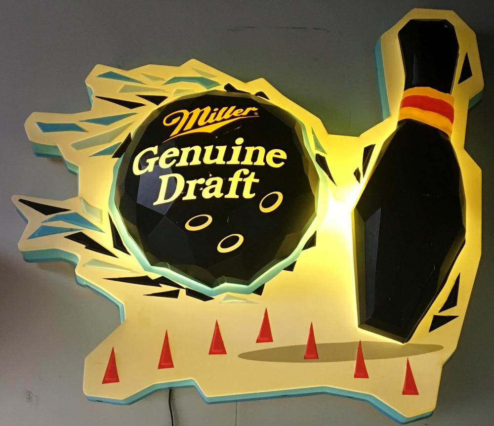 Vintage 1980's Miller Genuine Draft Beer Large 3D Bowling Alley Lighted Advertising Sign WORKS