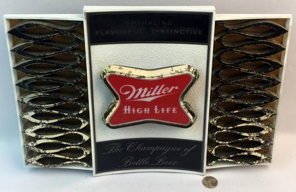"Vintage 1970's Miller High Life ""Sparkling Flavorful Distinctive / The Champagne of Beers"" Lighted Sign WORKS"