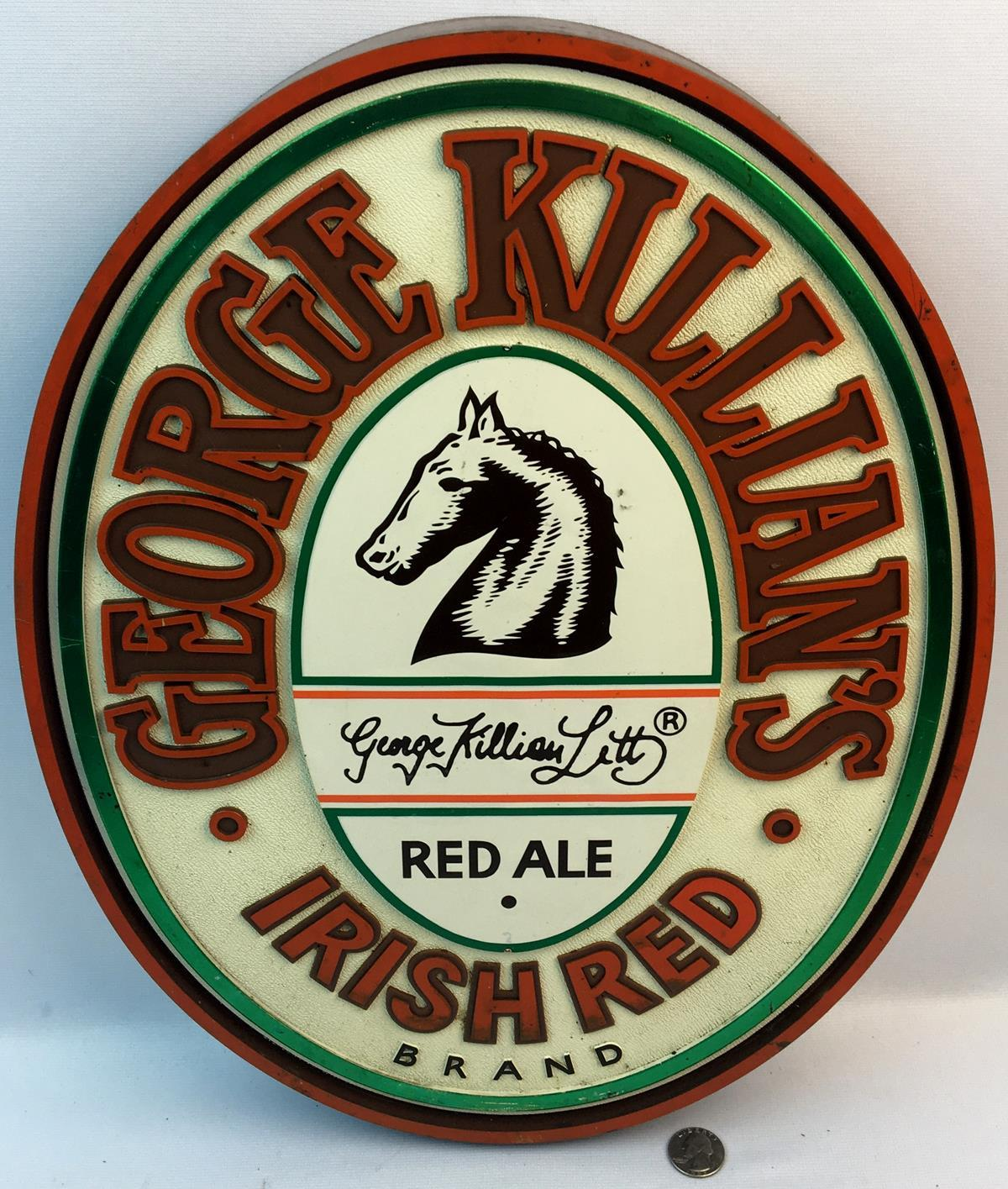 Vintage 1986 George Killian's Red Ale Brand Irish Red Plastic Sign