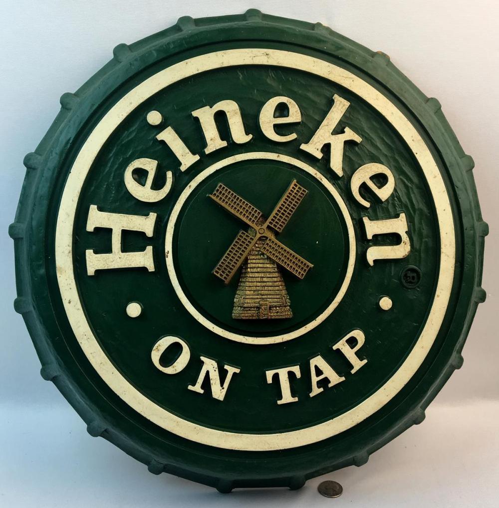 """Vintage 1980's Heineken On Tap Beer Bottle Cap Sign 19"""" Diameter"""