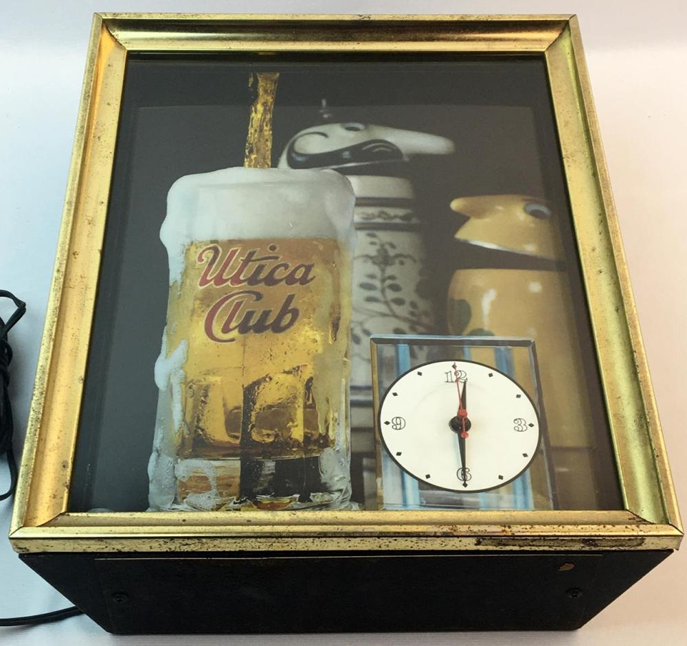 RARE Vintage 1960's Utica Club Brewery Schultz and Dooley Bar Lighted Clock Sign