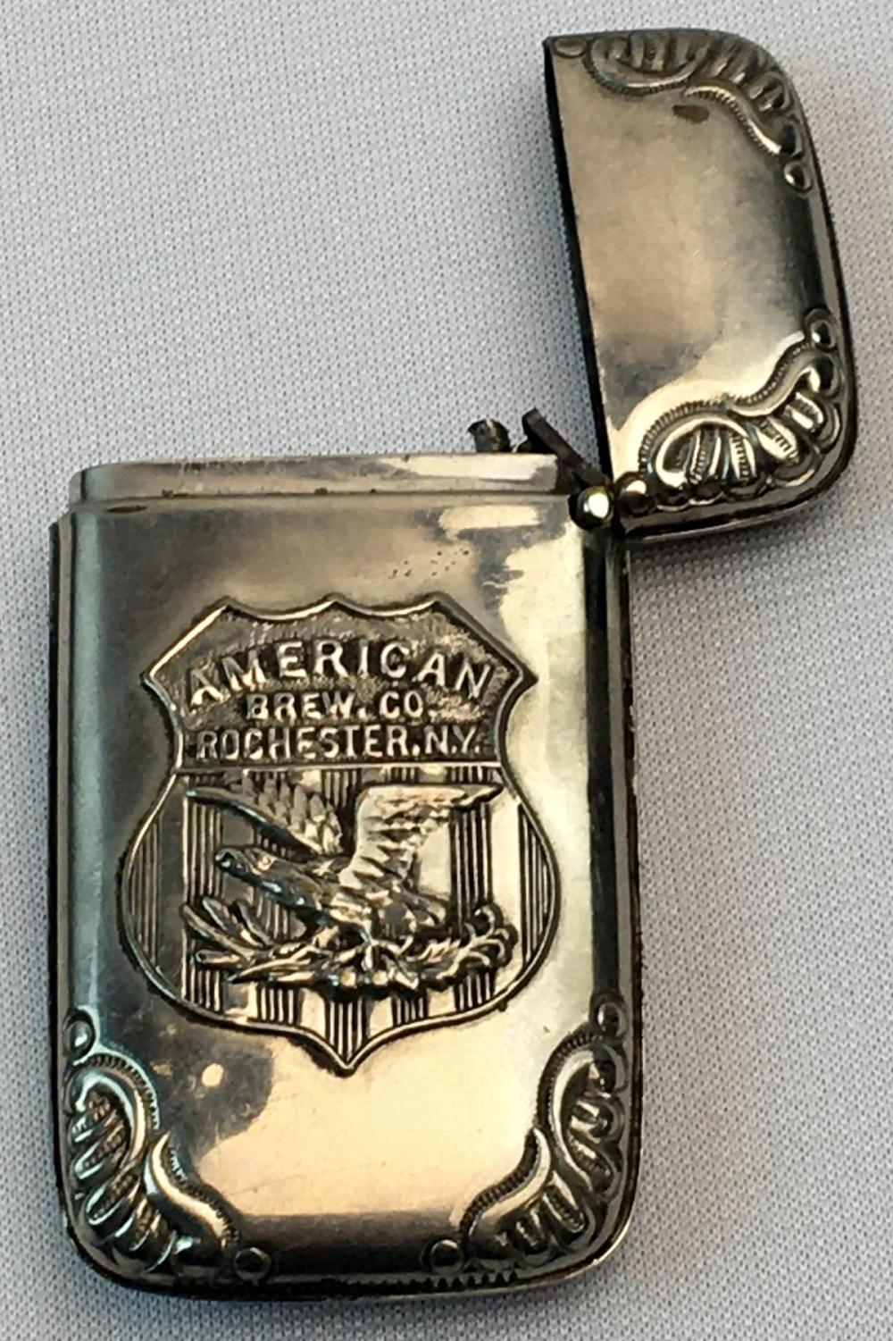 Antique c. 1920 American Brewing Co. Rochester, NY Silver Plated Advertising Match Safe