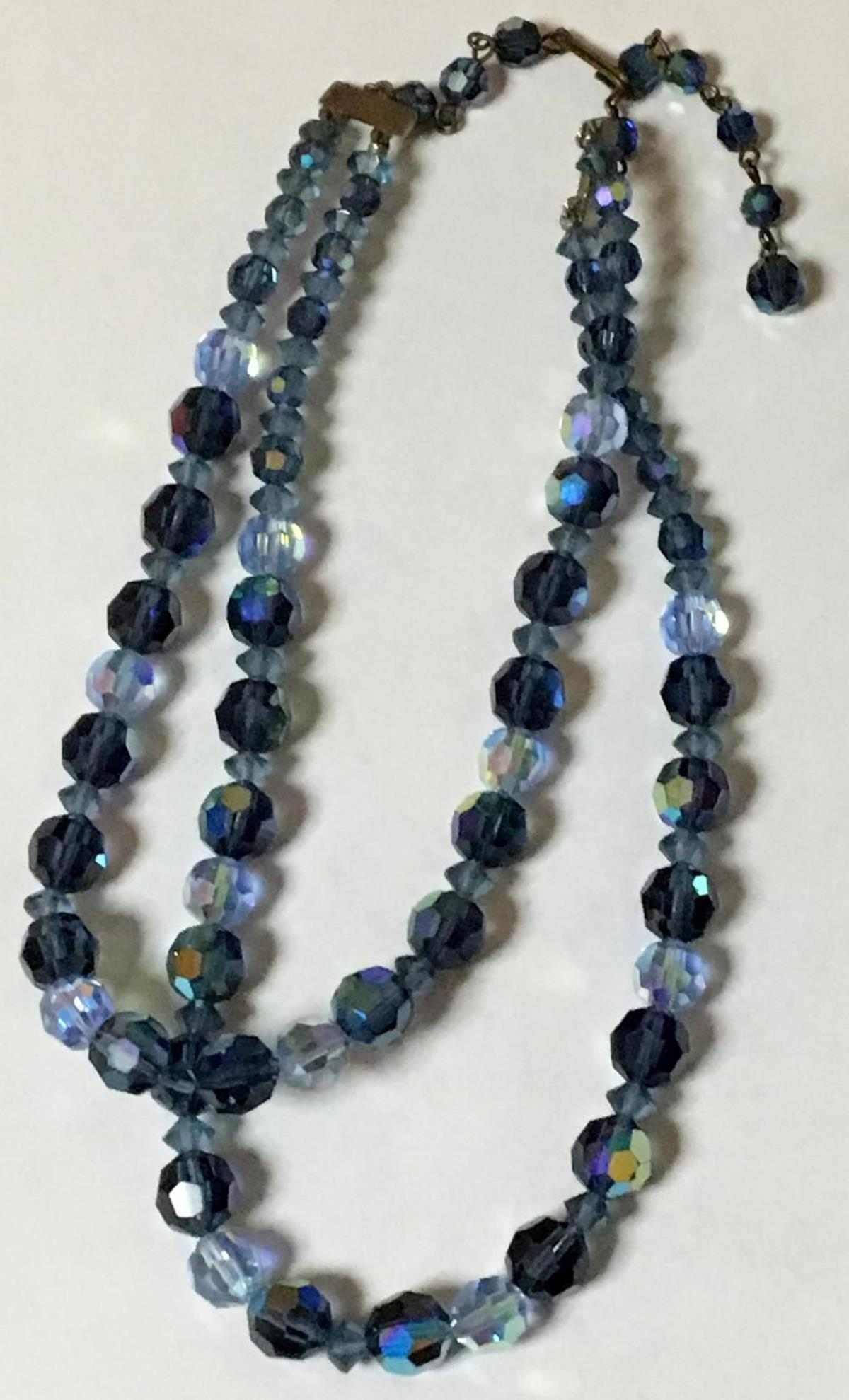 Vintage 2 Strand Blue AB Cut Glass Necklace