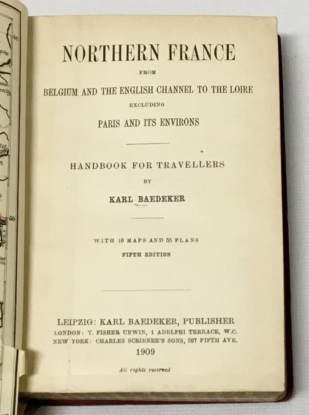 1909 Baedeker's Northern France Handbook For Travelers By Karl Baedeker W/ Fold Out Maps