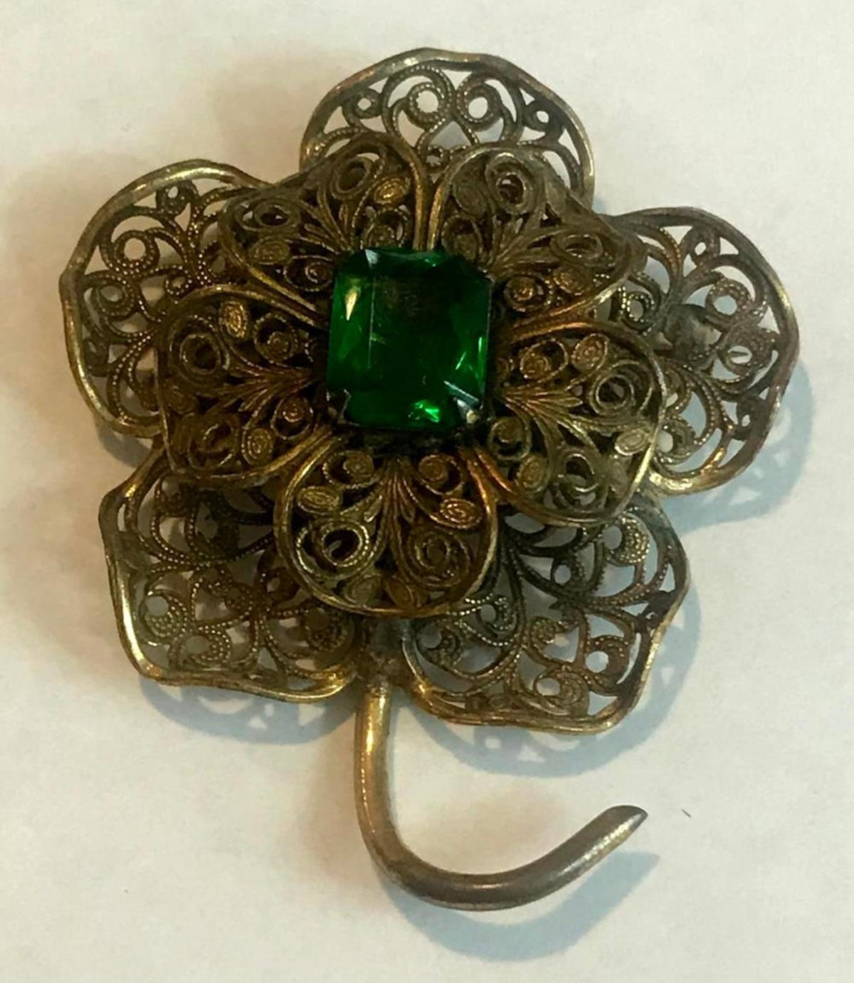 Vintage Pressed Brass Filigree Flower Brooch W/ Green Accent Stone