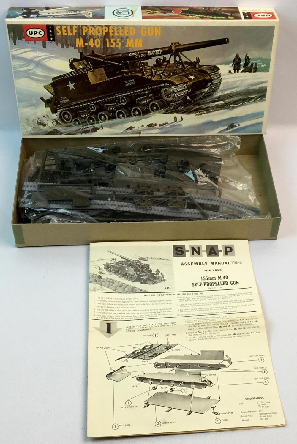 Vintage 1970's U.S. Self Propelled M-40 Gun Motor Carriage 155 MM 1/40 Scale UPC Model Kit UNBUILT