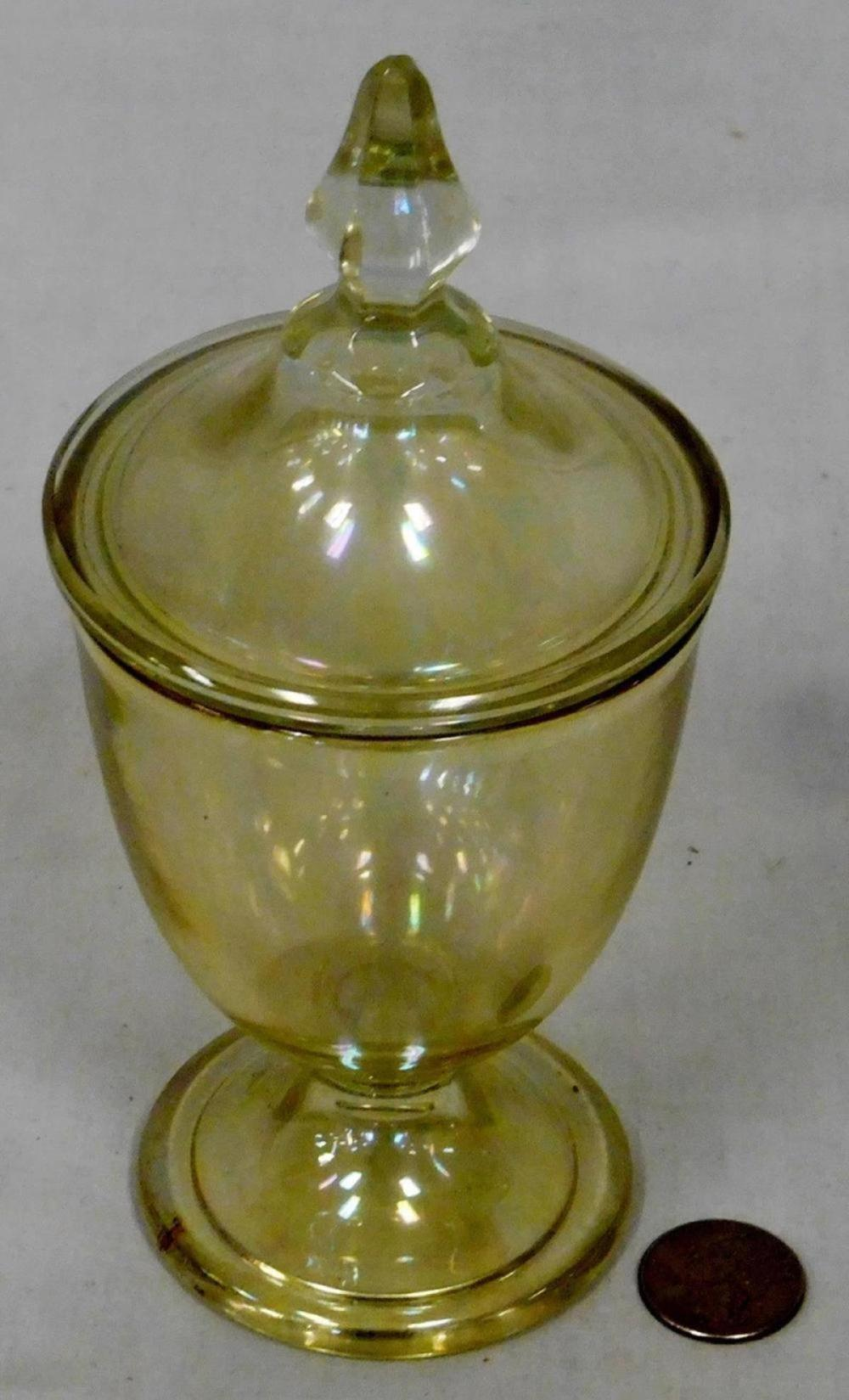 Vintage Heisey Glass Yellow Iridescent Covered Candy Dish