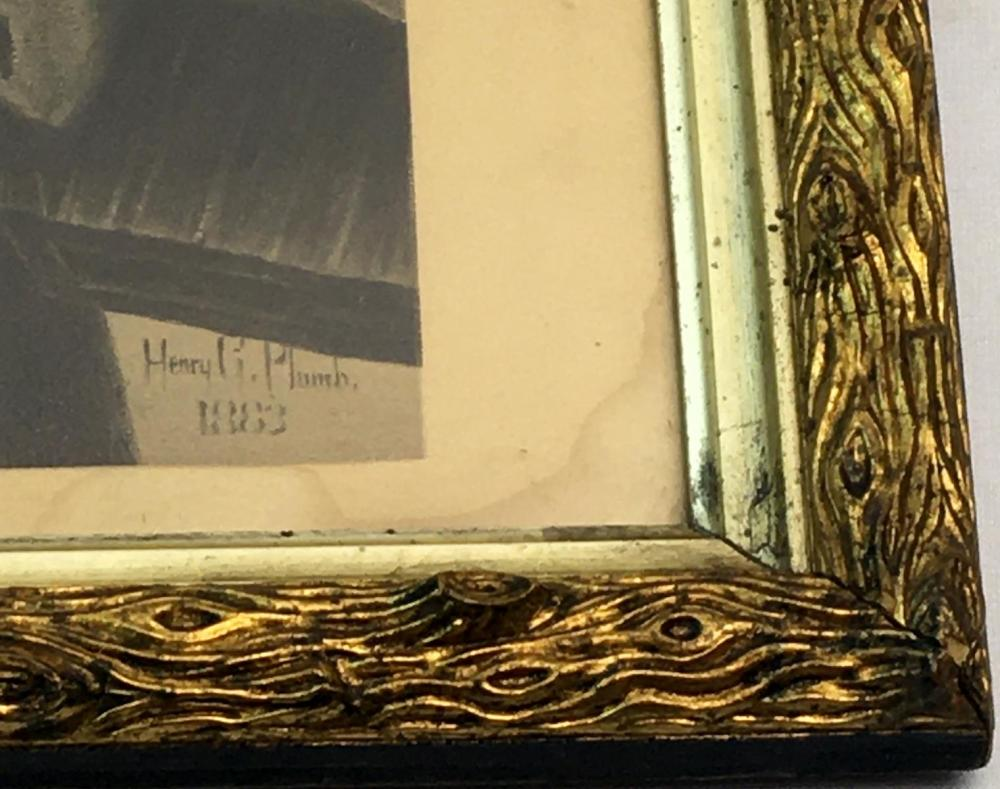 Henry Grant Plumb (American, b.1847, d.1930) Young Boy w/ Shoe Shine Kit 1883 Print TREE BARK FRAMED