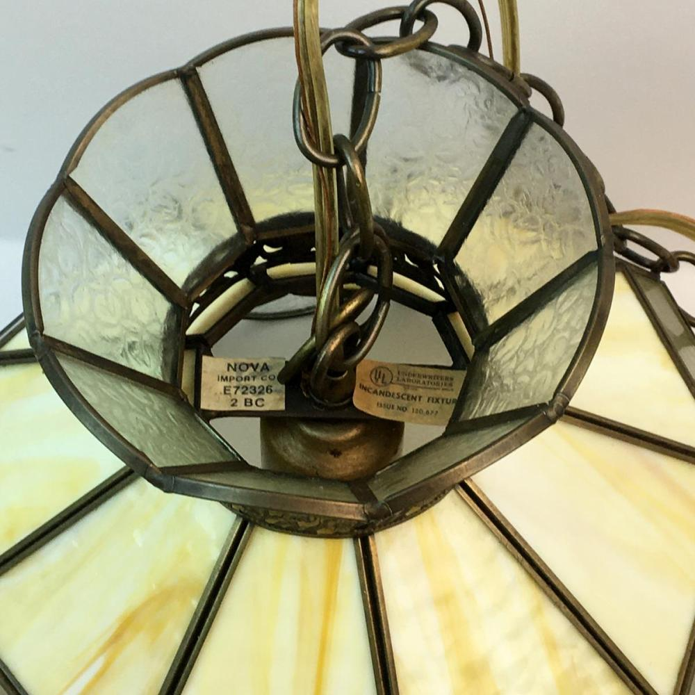 Vintage Stained Glass Hanging Light Swag Lamp Chandelier
