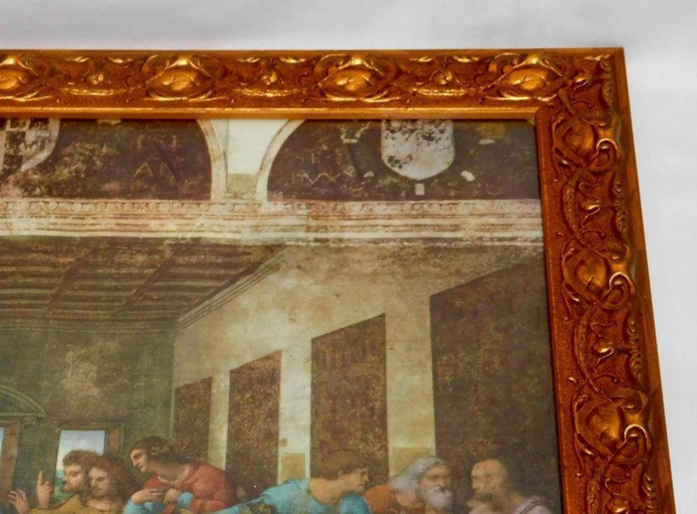 "Vintage Edizioni Beatrice D'Este Milano ""The Last Supper"" Silk Print ORNATE FRAMED"