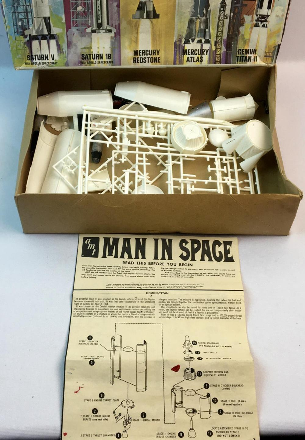 Vintage 1960's Man in Space: Saturn V Rocket and Apollo Spacecraft 1/200 Scale AMT Model Kit