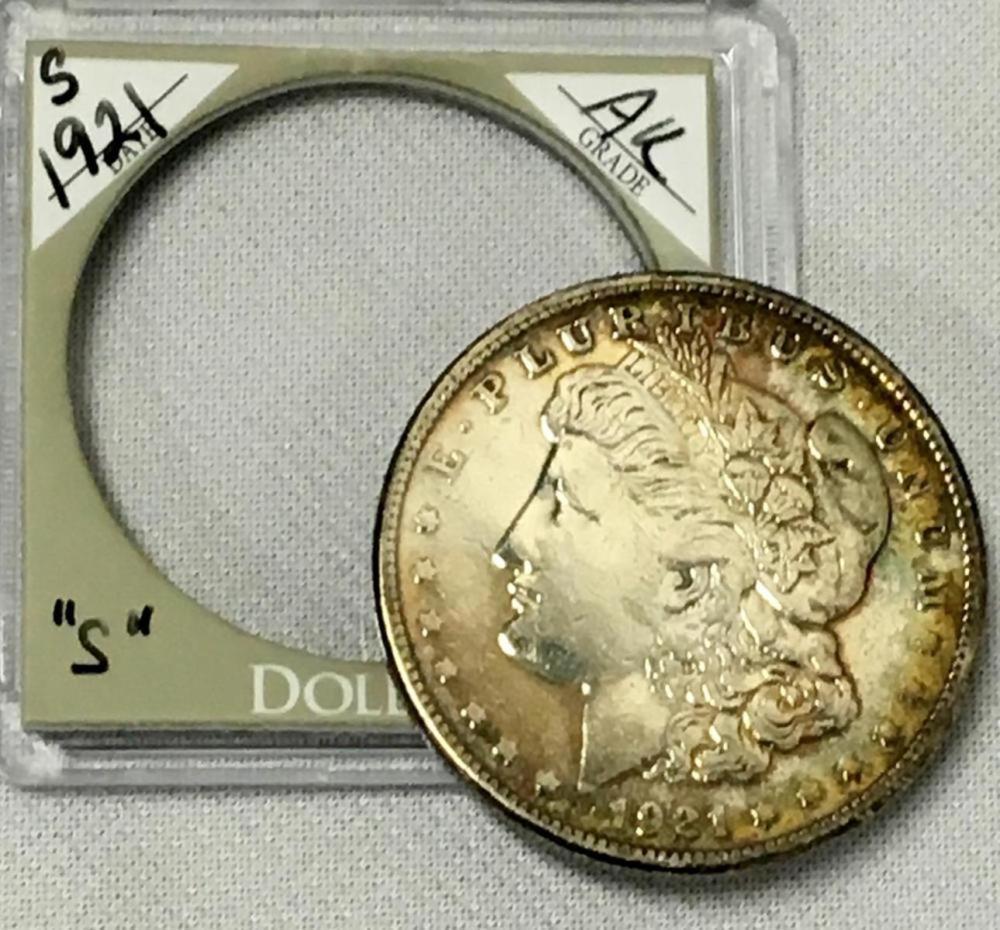 1921-S US $1 Morgan Silver Dollar W/ Case AU