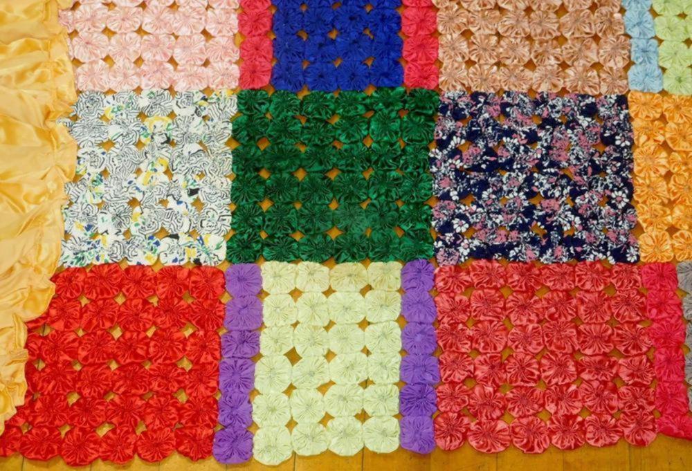 "Antique Satin Yo-Yo Blanket / Bedspread With Silk Ruffled Edge 89"" X 60"""