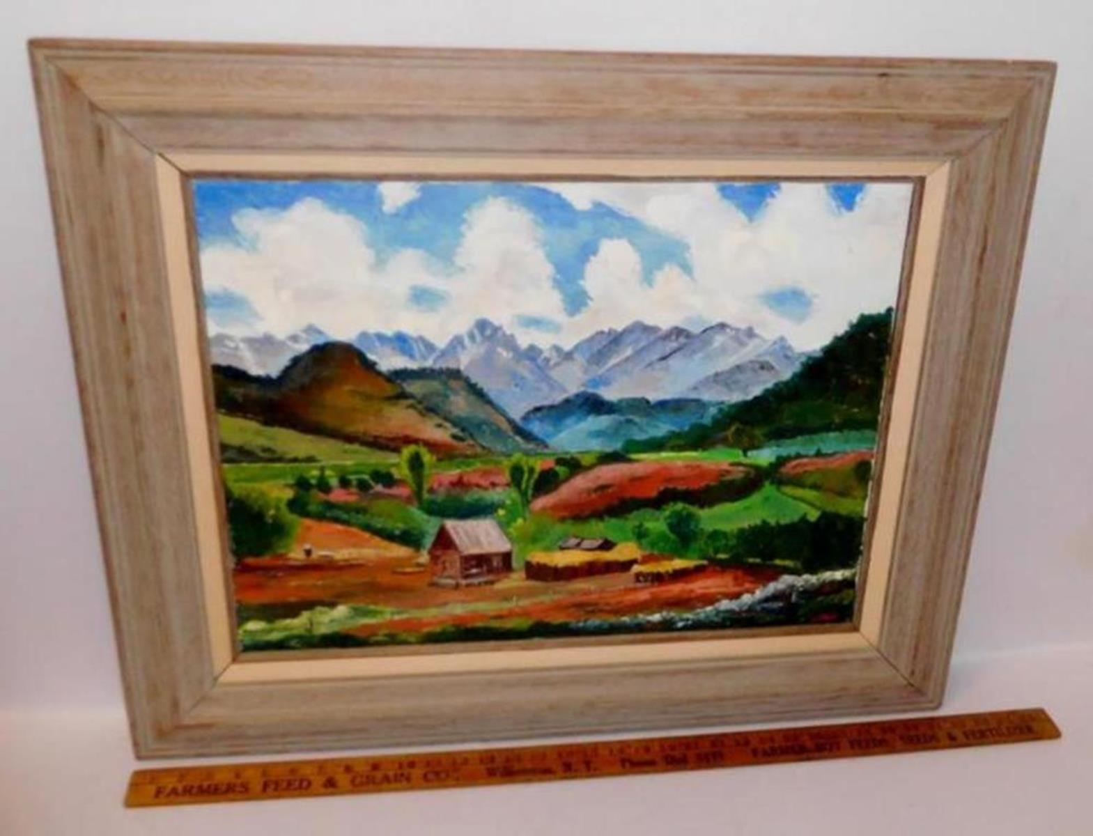 Beautiful Mid Century Farm House W/ Mountain Landscape Oil On Canvas Signed Wilton FRAMED