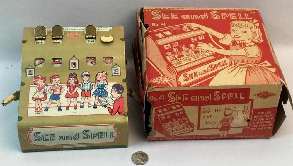 Vintage 1950's Wolverine Tin Litho See and Spell Toy w/ Original Box