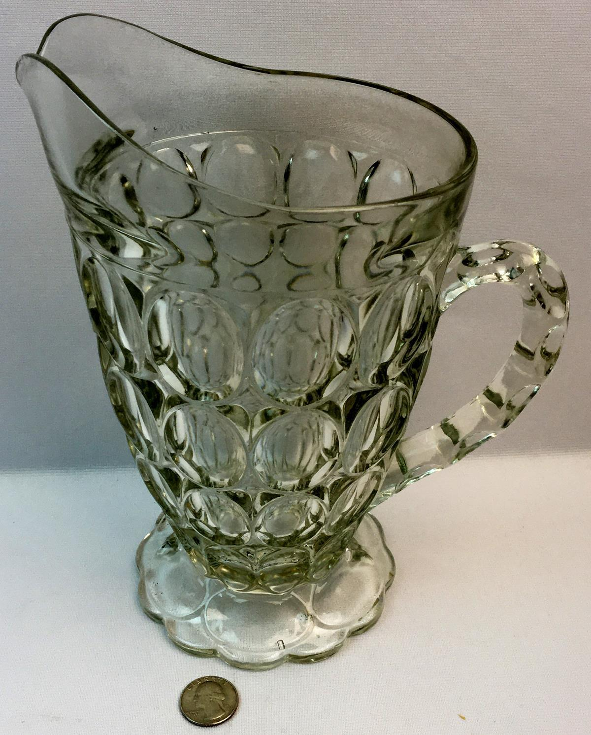 "Vintage 1950's Jeannette Glass ""Thumbprint"" Pattern Clear Pitcher"