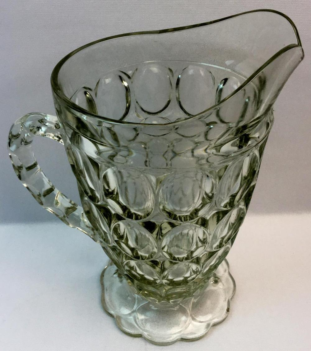 """Vintage 1950's Jeannette Glass """"Thumbprint"""" Pattern Clear Pitcher"""