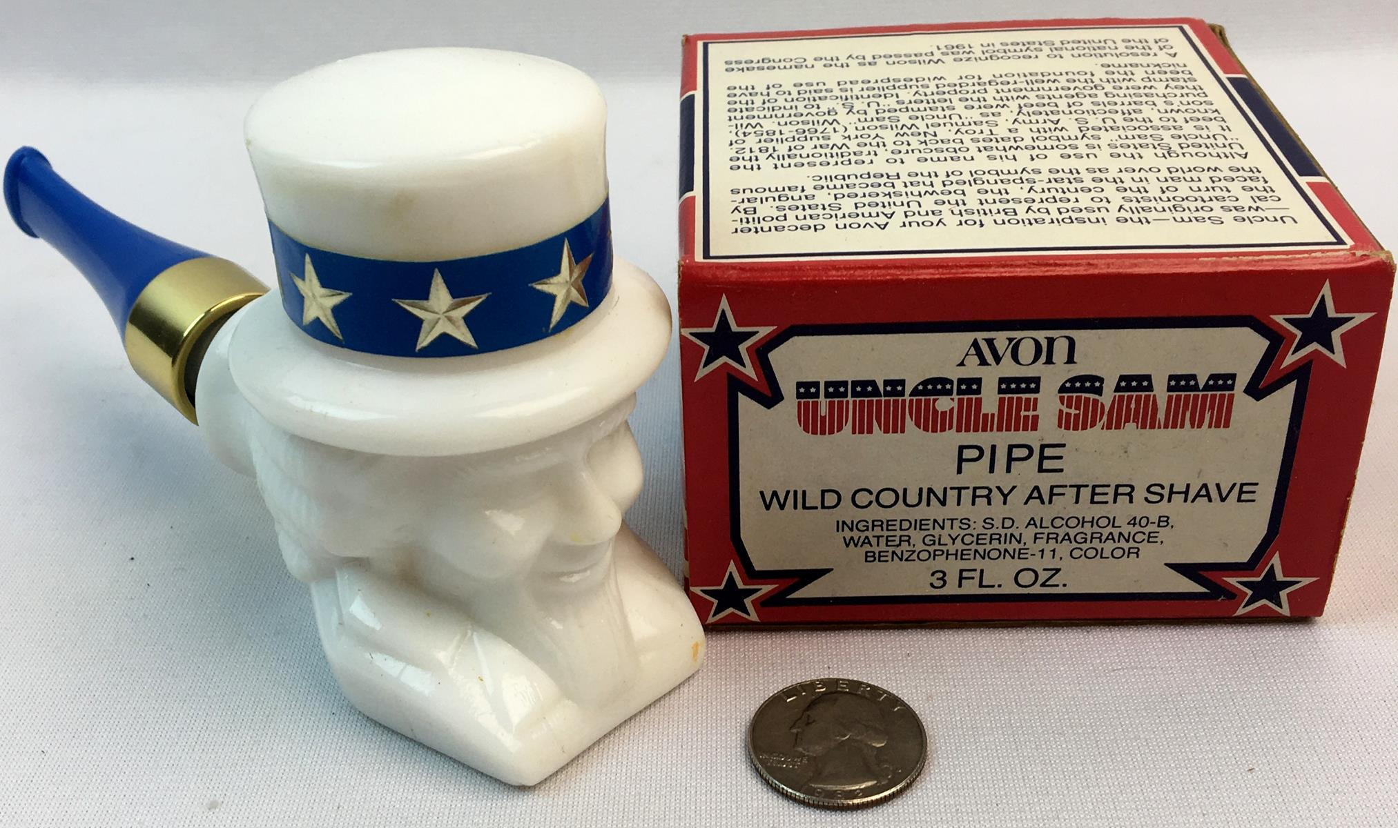 Vintage 1970's Uncle Sam Pipe Decanter Bottle Avon Wild Country After Shave w/ Box