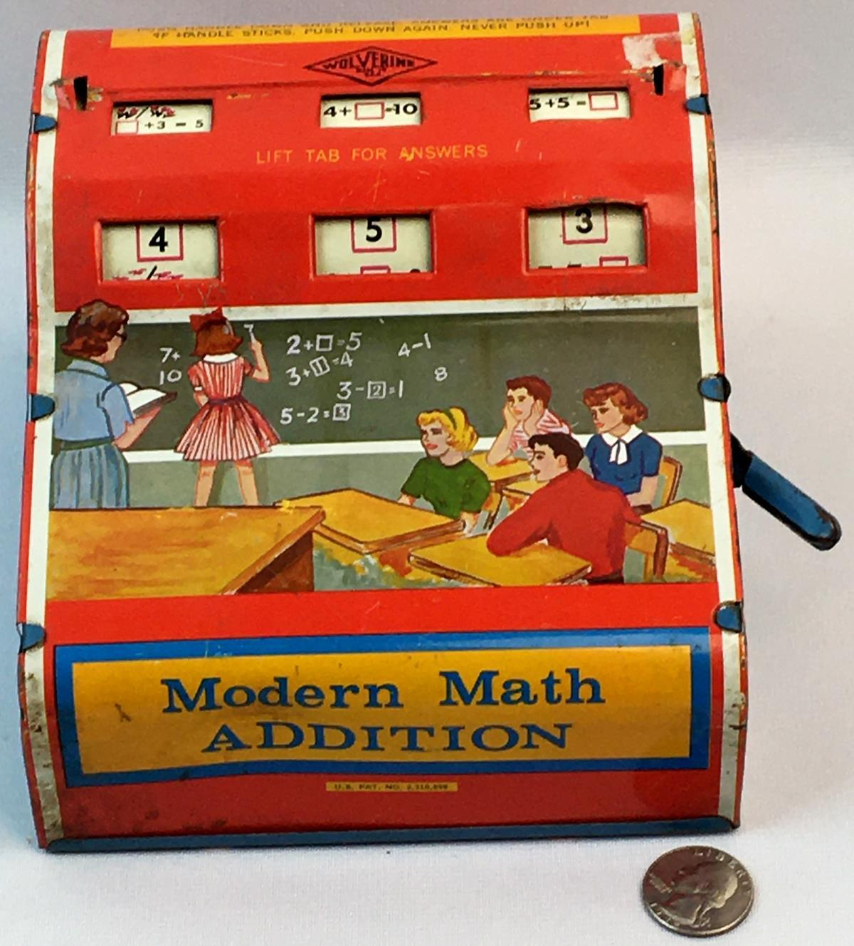 Vintage 1950's Wolverine Tin Litho Modern Math Addition Toy