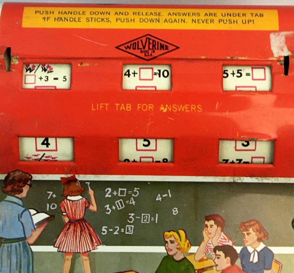 Vintage 1950's Wolverine Tin Litho Modern Math Addition Toy