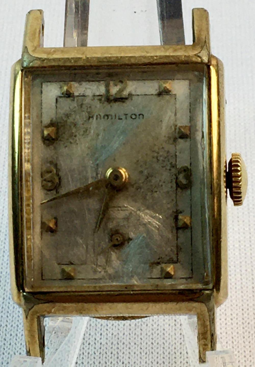 Vintage 1952 Hamilton 10K GF 19 Jewel Watch Face & Case