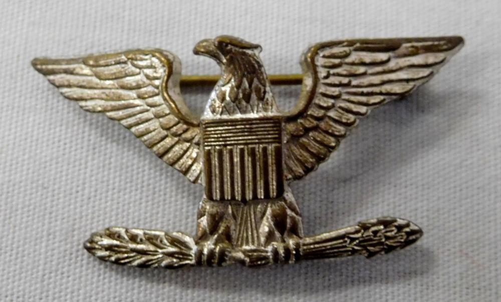 Vintage Colonel Rank Insignia Sterling Silver? Pinback A.E. & Co. Utica, NY