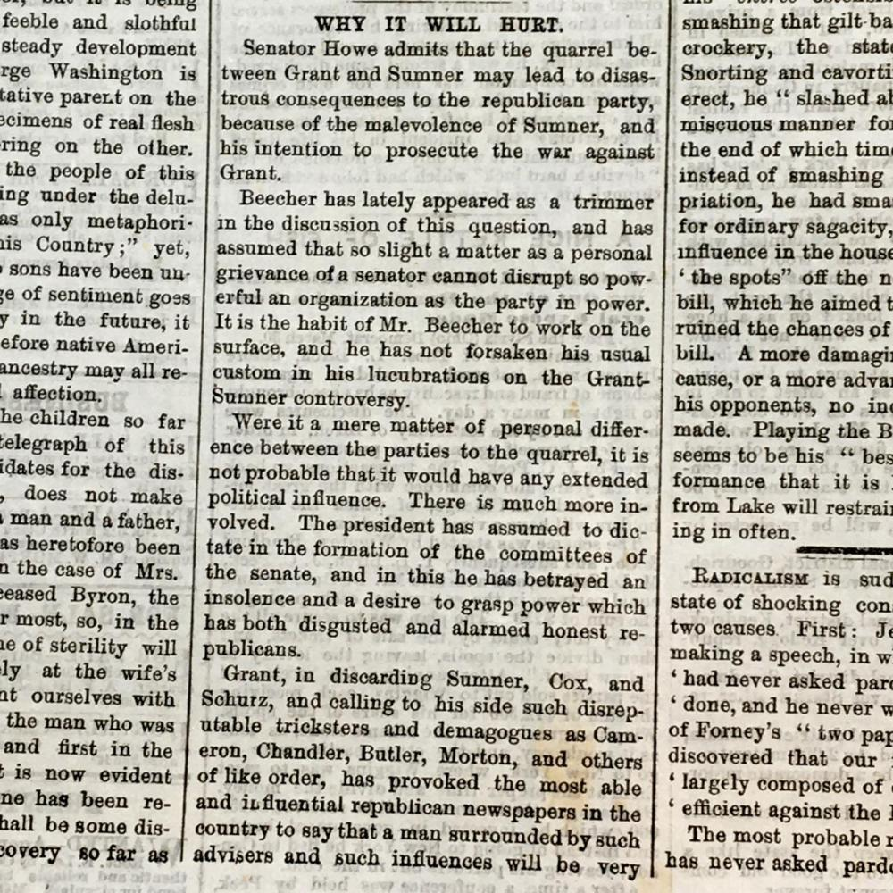 1871 The Chicago Times Newspaper (The U.S President Ulysses S. Grant / Ku Klux Klan Act)