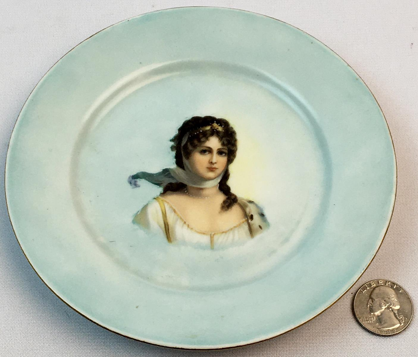 Antique Hand Painted Plate With Queen Louise of Prussia Elite L France