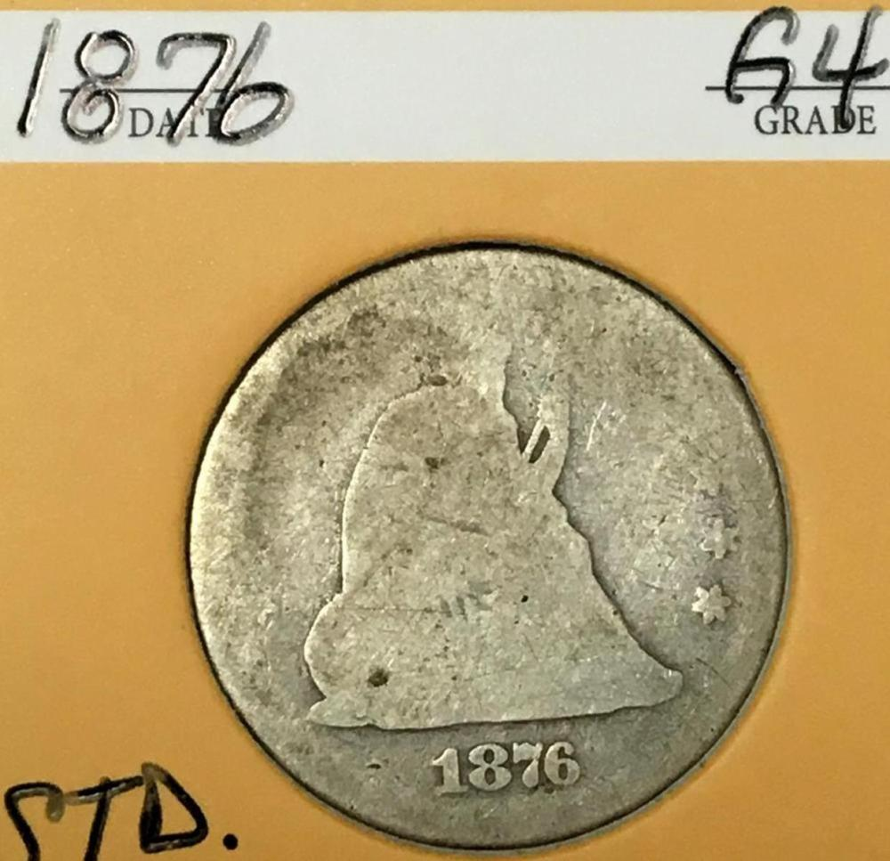 1876 US 25c Seated Liberty Silver Quarter Dollar W/ Case