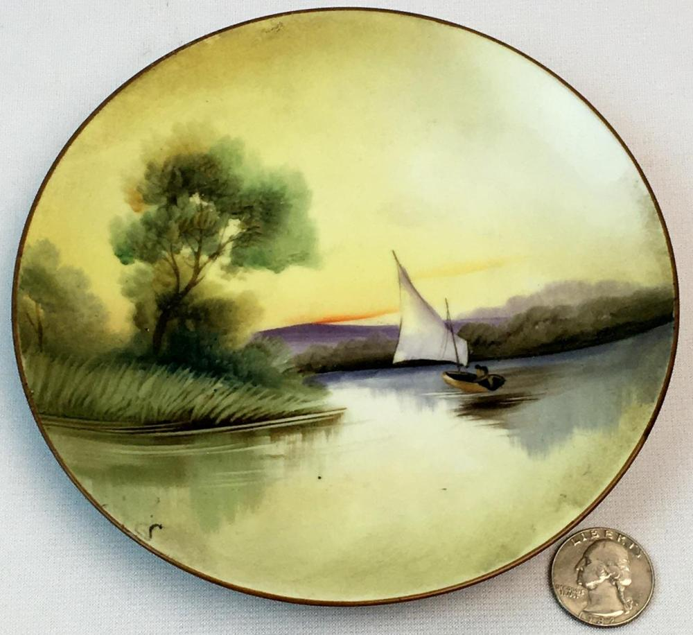 Antique c. 1930 Hand Painted Nippon Sailboat Scene Plate