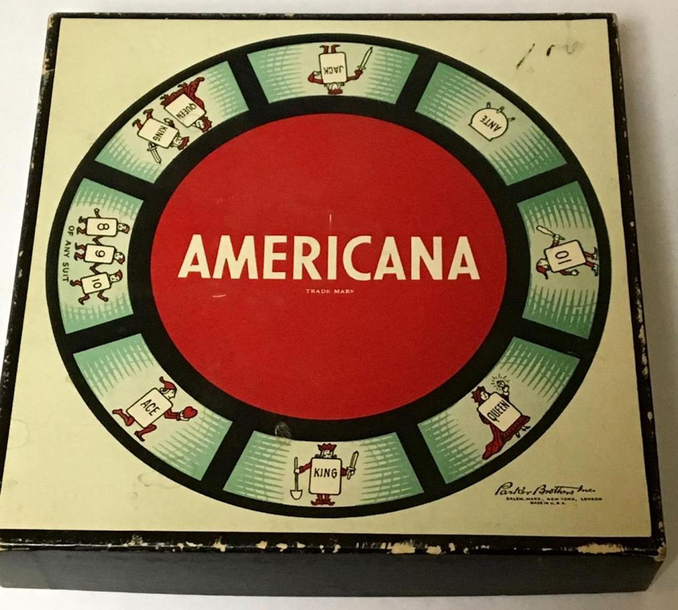 Vintage 1937 AMERICANA Parker Brothers Card Game W/ Box