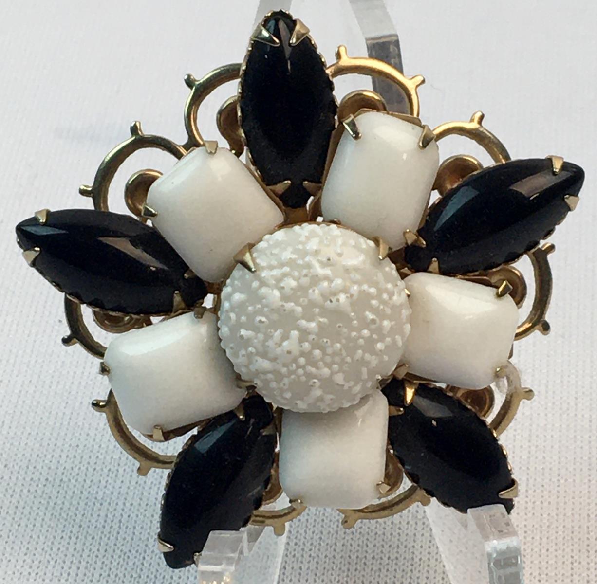 Vintage Gold Tone Floral Brooch w/ Milk Glass & Black Stones
