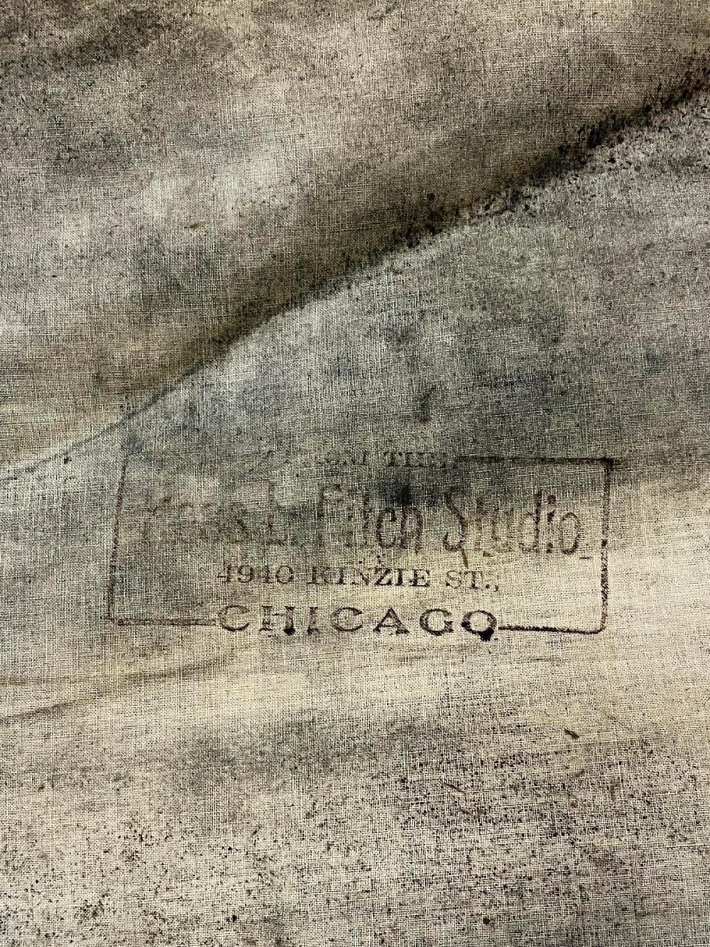 Antique c. 1890 J.E. Hale's Photograph Studio Hand Painted Scene Canvas Backdrop From Ross L. Fitch Studio, Chicago