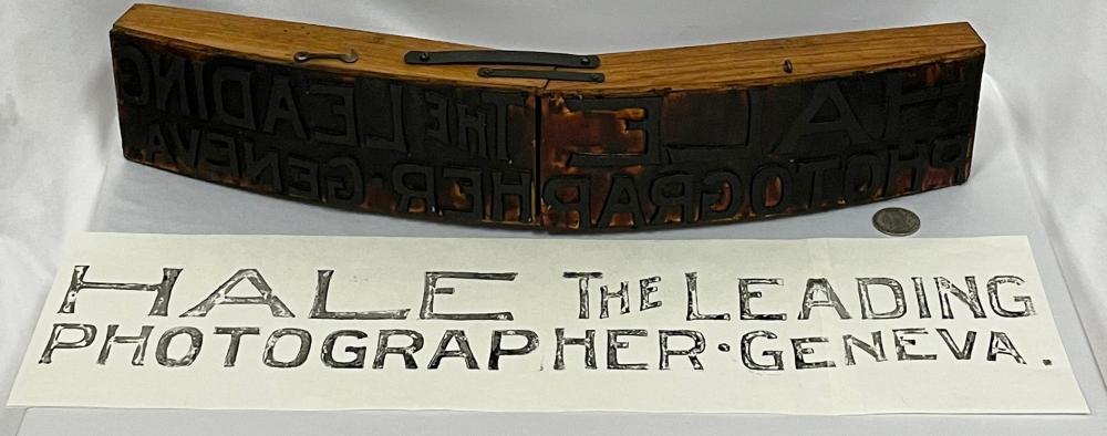 "RARE Antique c. 1900 Arc Printing Co. ""HALE THE LEADING PHOTOGRAPHER - GENEVA."" Sign Printer"