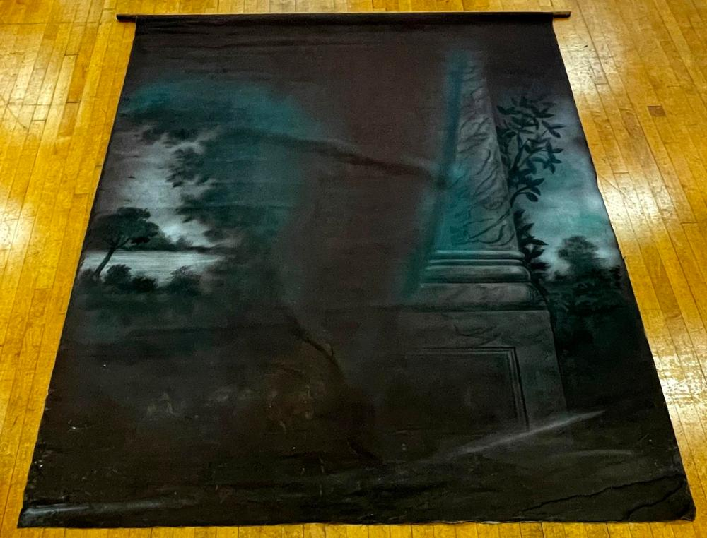Antique c. 1890 J.E. Hale's Photograph Studio Hand Painted Scene Double Sided Canvas Backdrop w/ Wood Dowl Attached