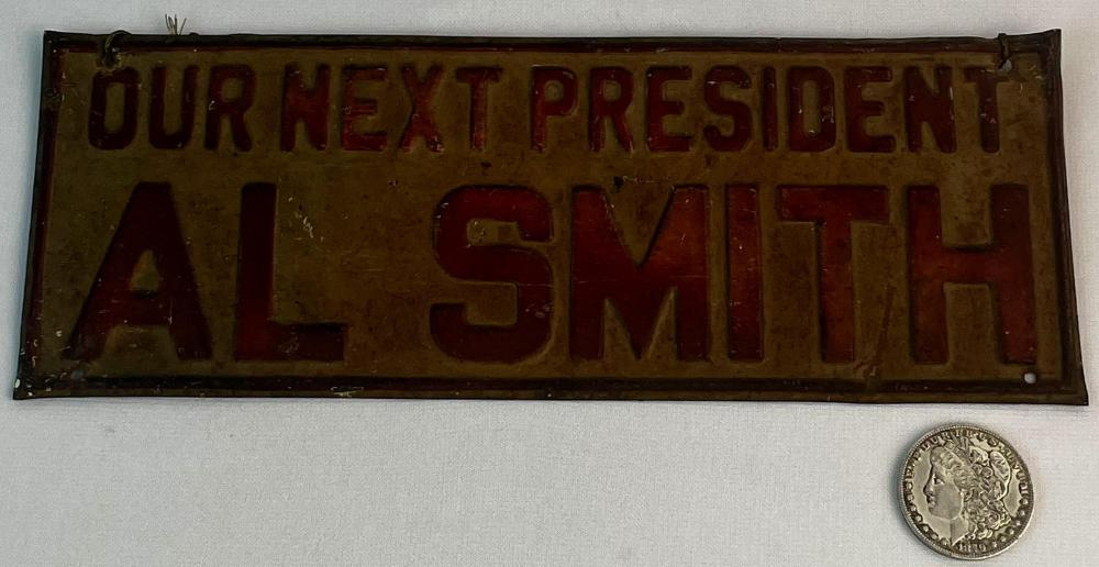 """Vintage 1928 Al Smith """"Our Next President"""" Campaign Metal License Plate"""