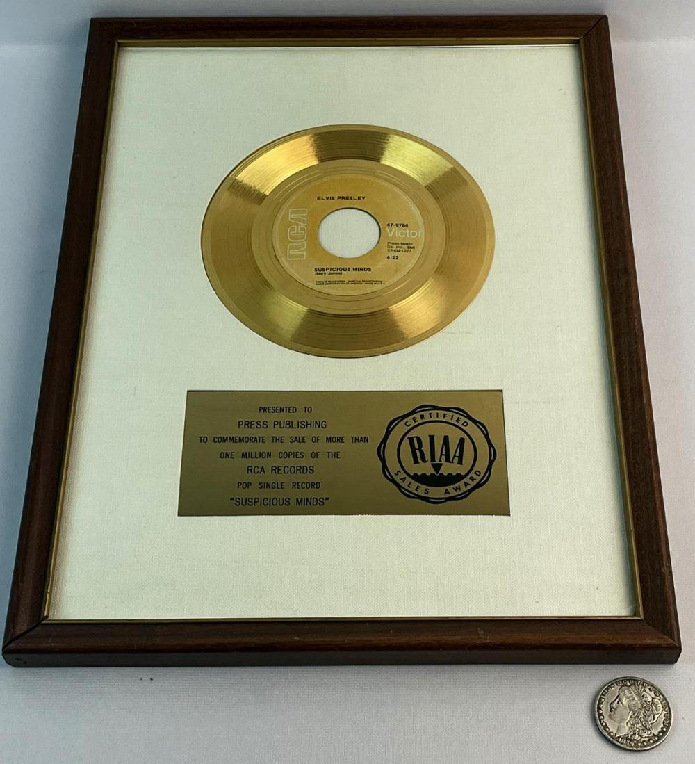 """RIAA Gold Record Award For Elvis Presley's 1969 Single """"Suspicious Minds"""" - Awarded In 1969"""