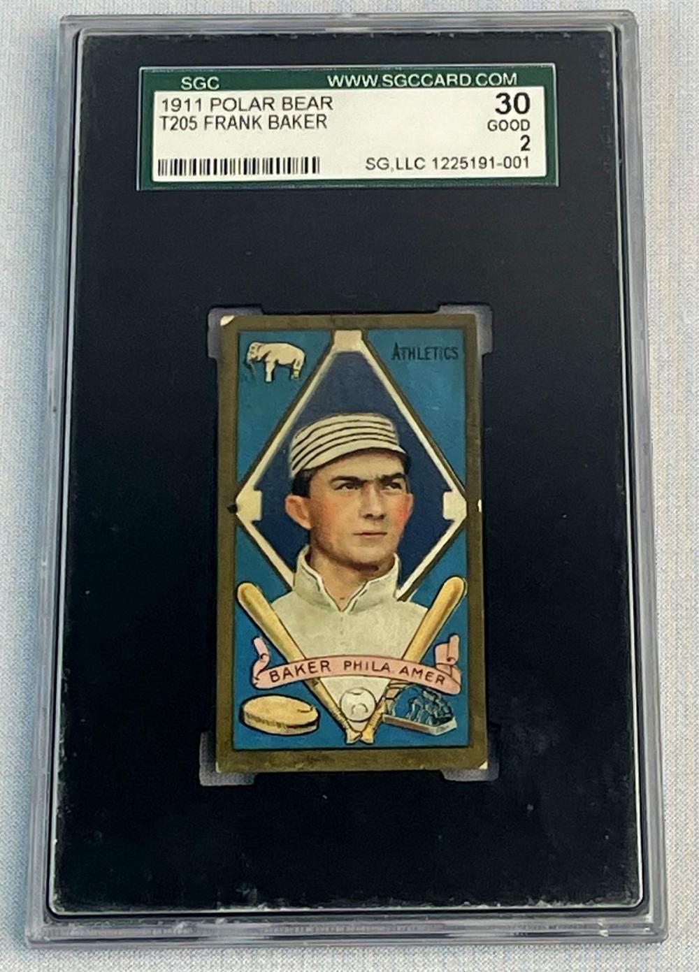 1911 T205 Polar Bear Gold Border Frank Home Run Baker Philadelphia Athletics Tobacco Card GRADED