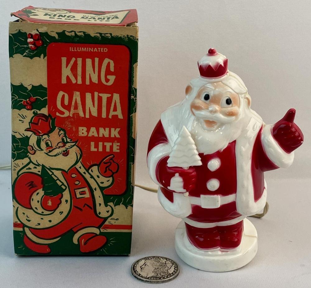 Vintage 1950's Harett-Gilmar, Inc. King Santa Bank Lite w/ Original Box WORKS