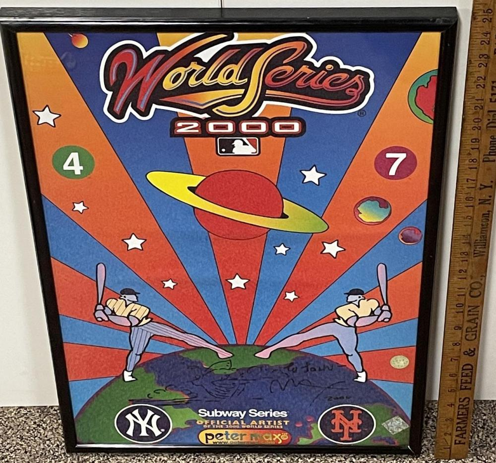 SIGNED Peter Max 2000 World Series Subway Series Mets vs Yankees Poster FRAMED