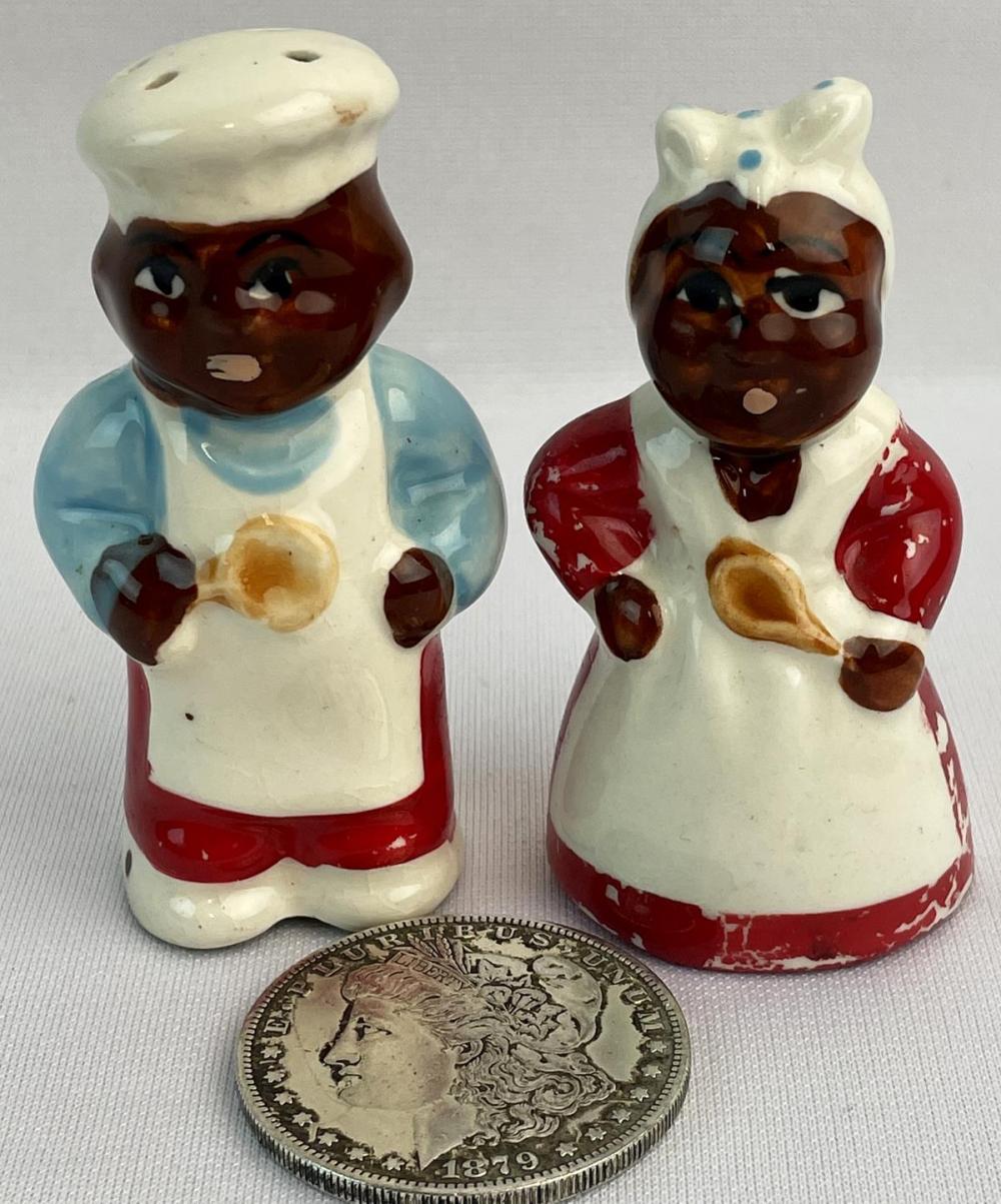 Vintage 1940's Black Americana Aunt Jemima & Uncle Moses Salt & Pepper Shaker Set