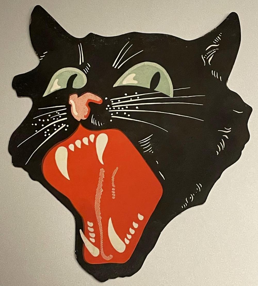 Vintage 1940's Halloween Black Cat Die Cut